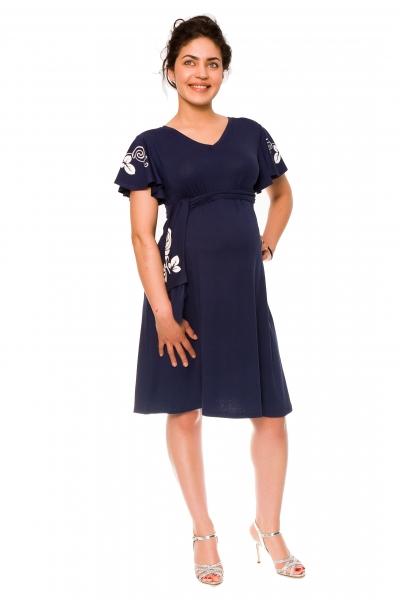 Be MaaMaa Elegantní těhotenské šaty Alexie, se stuhou a potiskem - granát, vel. XLvel. XL (42)