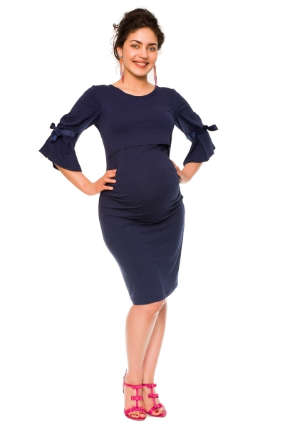 Be MaaMaa Elegantní těhotenské a kojící šaty Barbara - granát, vel. S