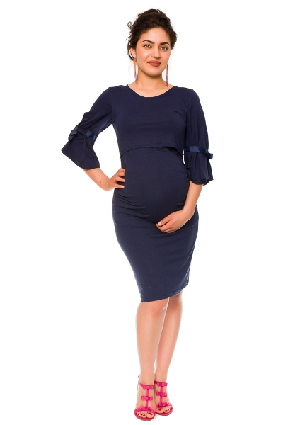 Elegantní těhotenské a kojící šaty Barbara - granát, vel. L, Velikost: L (40)