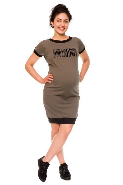 Be MaaMaa Těhotenské šaty Eana, teplákové - khaki, vel. XL