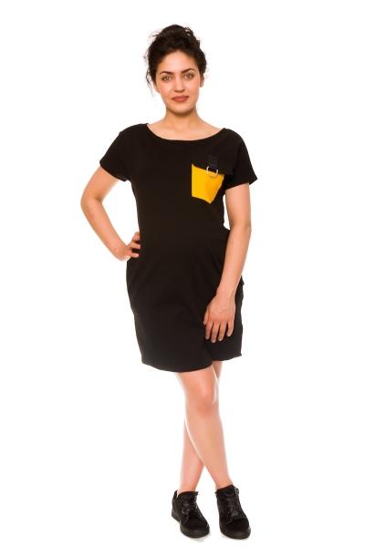 Be MaaMaa Těhotenské šaty Helen, teplákové - černé, vel. S
