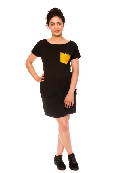 Be MaaMaa Těhotenské šaty Helen, teplákové - černé, vel. M