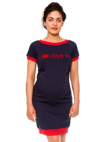Be MaaMaa Těhotenské šaty Love - teplákové, granát, vel. L