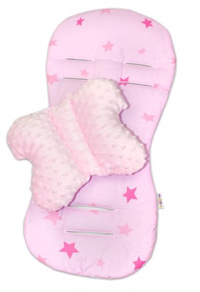 Komfortní sada 2v1 s minky, polštářek a poduška - růžová