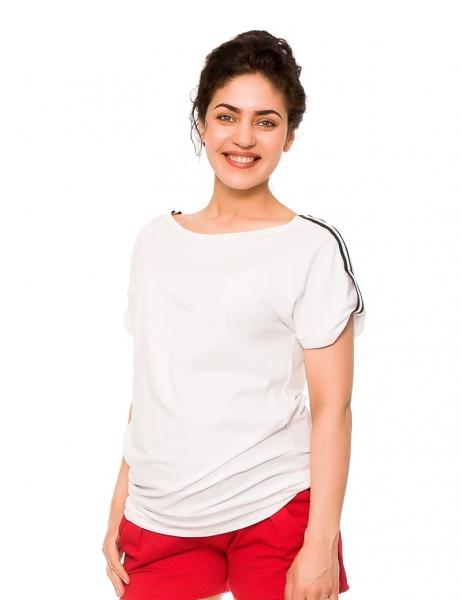 Be MaaMaa Těhotenské triko Lia - bílé, vel. L, Velikost: L (40)