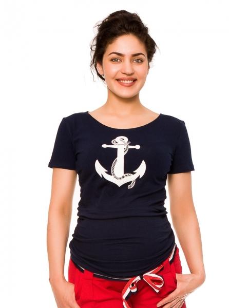 Be MaaMaa Těhotenské triko Kotva - granát, vel. XL, Velikost: XL (42)