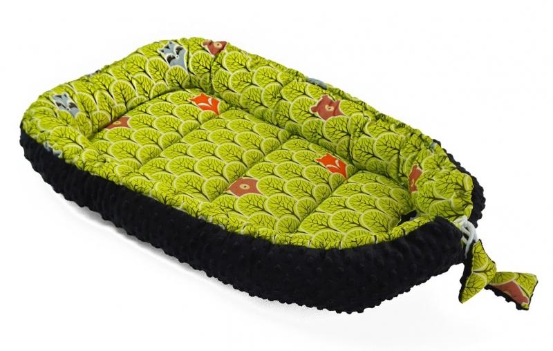Baby Nellys Oboustranné hnízdečko, kokon minky 60x90cm- lesík - zelený