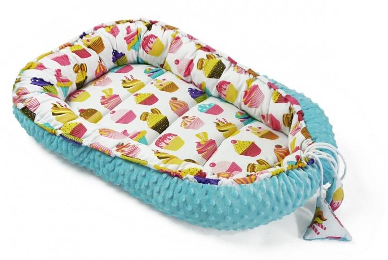 Baby Nellys Oboustranné hnízdečko, kokon minky 60x90cm- sladkosti