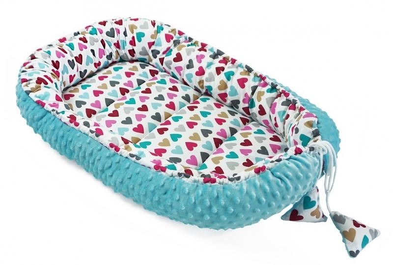 Baby Nellys Oboustranné hnízdečko, kokon minky 60x90cm- srdíčka, minky modrá,tyrkys