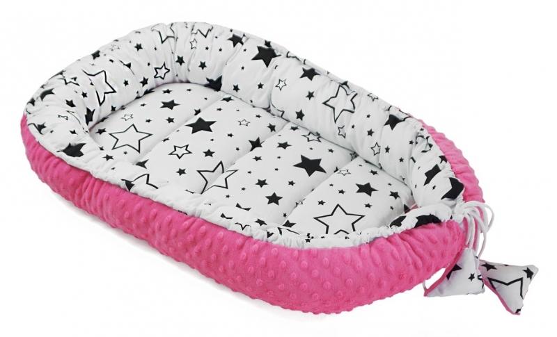Baby Nellys Oboustranné hnízdečko, kokon minky 60x90cm- Hvězdičky/minky růžová