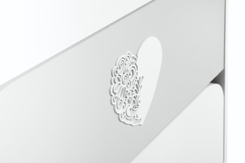 Klups Přebalovací komoda Nel s přebalovacím pultem, bílo/šedé srdíčko