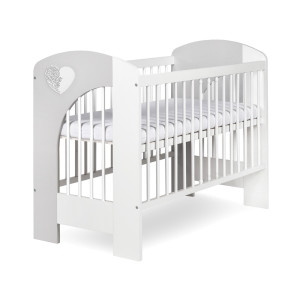 Dětská postýlka Nel srdíčko bílo/šedá - 120x60, Velikost: 120x60