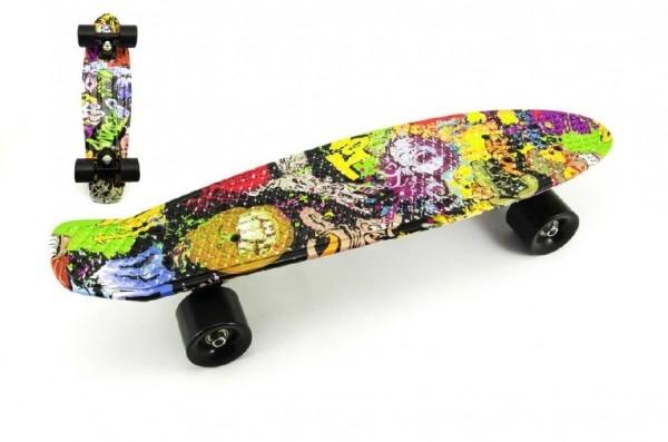 Skateboard - pennyboard 60cm nosnost 90kg potisk barevný, černé kovové osy, černá kol