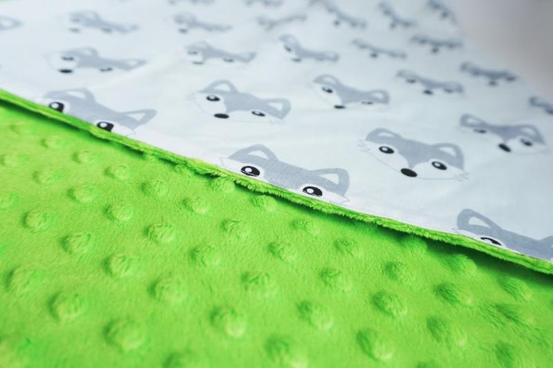 Baby Nellys Luxusní bavlněná dečka 3v1 s minky, 90 x 90 cm, lištičky, Minky - zelená