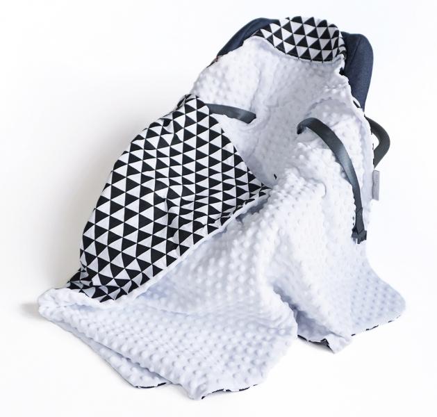 Baby Nellys Luxusní bavlněná dečka 3v1 s minky, 90 x 90 cm, trojúhelníčky, černá/bílá