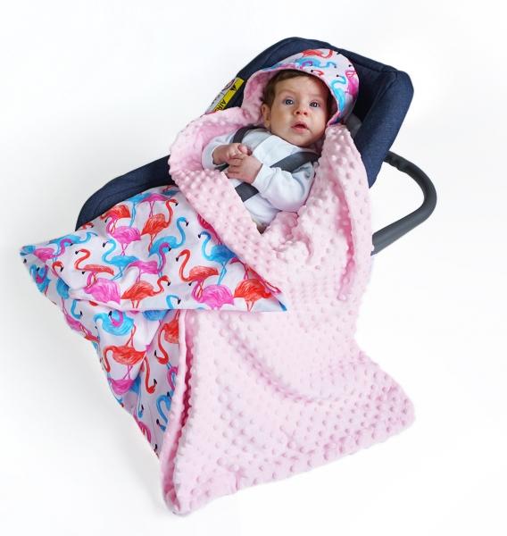 Baby Nellys Luxusní bavlněná dečka 3v1 s minky, 90 x 90 cm, plameňáci, Minky - růžová