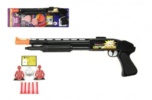 Pistole/Brokovnice na přísavky s doplňky plast 50cm na kartě