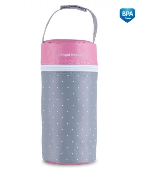 Termoobal Canpol Babies Tečky - šedý/růžový