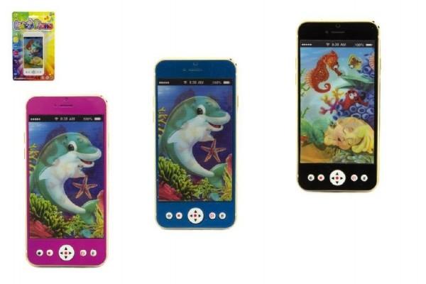Mobil/telefon plast 13cm na baterie se světlem se zvukem mix druhů na kartě
