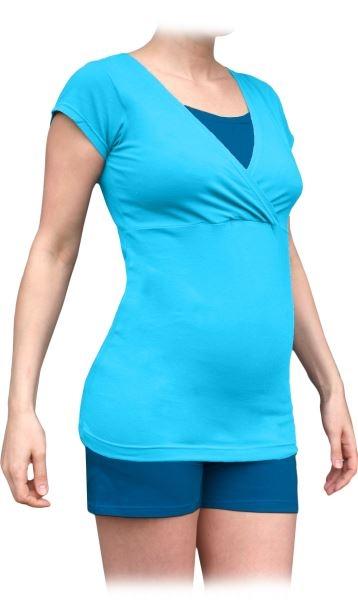 JOŽÁNEK Těhotenské, kojící pyžamo, krátké - tyrkys + tm.modrý tyrkys