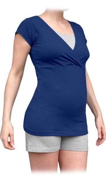 Těhotenské, kojící pyžamo, krátké - jeans/šedý melír
