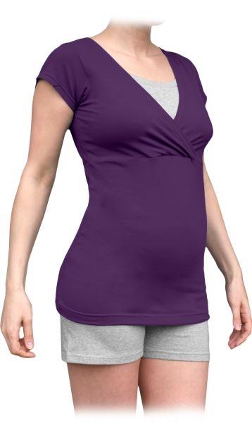 Těhotenské, kojící pyžamo, krátké - švestka/šedý melír