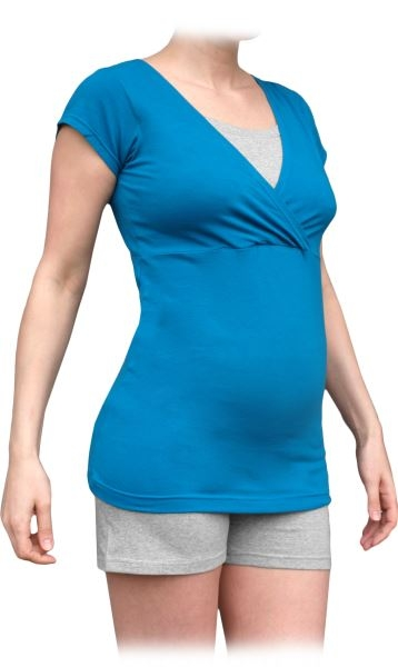 Těhotenské, kojící pyžamo, krátké - tm.tyrkys/šedý melír, vel. M/L, Velikost: M/L