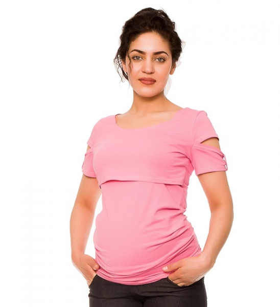 Těhotenské a kojící triko Lena - růžové, vel. L