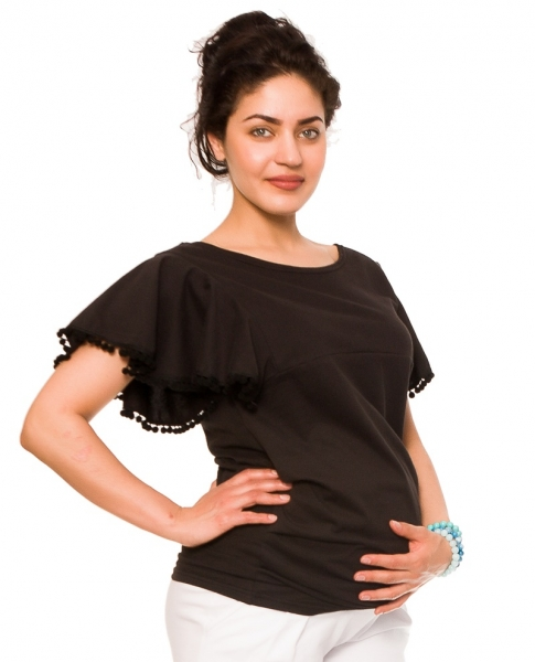 Těhotenské triko/halenka Sofie - černé, vel. L