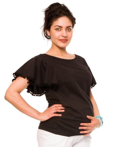 Těhotenské triko/halenka Sofie - černé, vel. XL