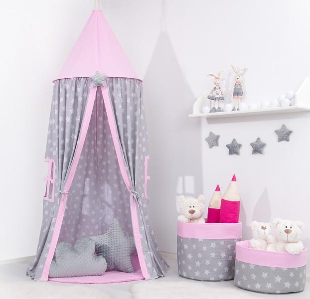 Mamo Tato Stan pro děti s výbavou, závěsný stan  - hvězdičky na šedém / růžový
