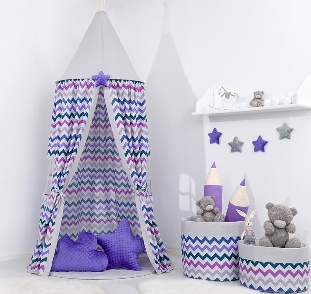 Mamo Tato Stan pro děti s výbavou, závěsný stan  - fialový cik cak / šedý