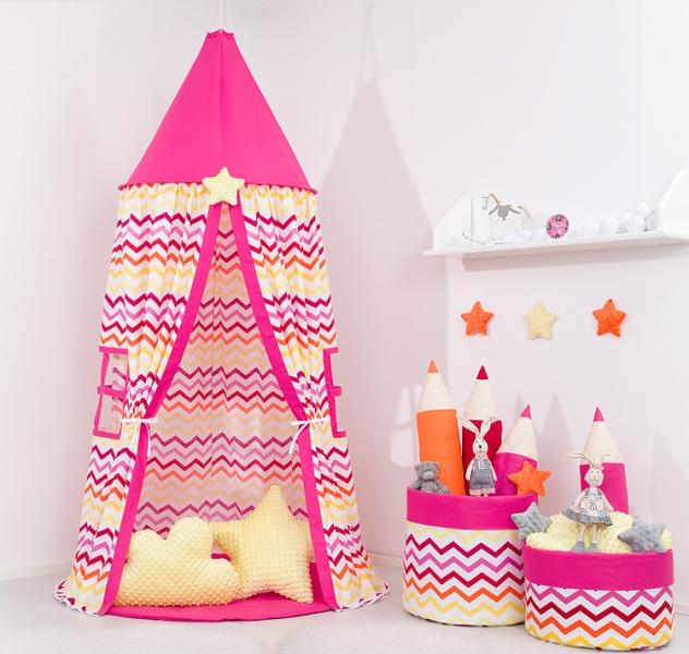 Mamo Tato Stan pro děti s výbavou, závěsný stan  - barevný cik cak / malina