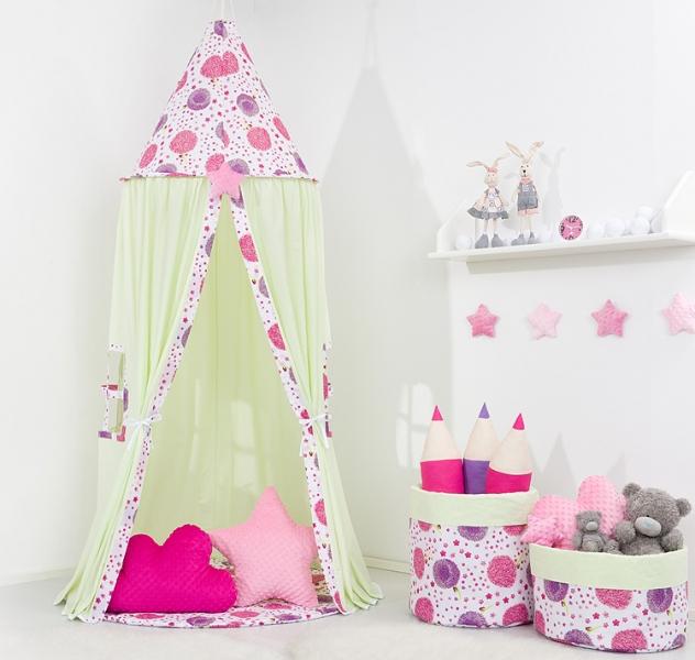 Stan pro děti s výbavou, závěsný stan  -mátový / pampelišky růžové