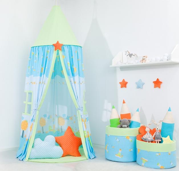 Stan pro děti s výbavou, závěsný stan  - šnek modrý / zelený
