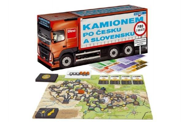 Kamionem po Česku a Slovensku společenská hra v krabici  36x17x11cm
