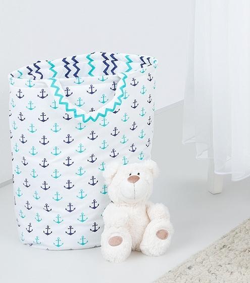 Mamo Tato Box na hračky - oboustranný, kotvy / cik cak granatový