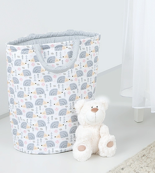 Box na hračky - oboustranný, ježek šedý / mini tečky šedé
