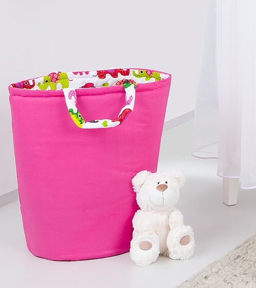 Box na hračky - oboustranný, malina / růžové slony