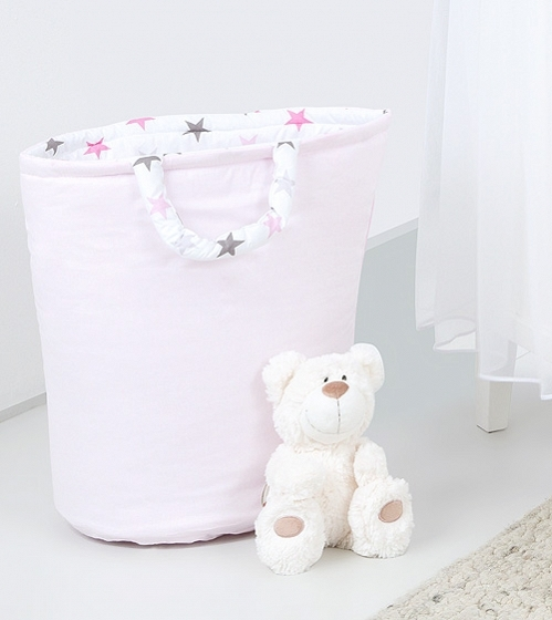 Box na hračky - oboustranný, sv. růžová / hvězdičky šedé a růžové D