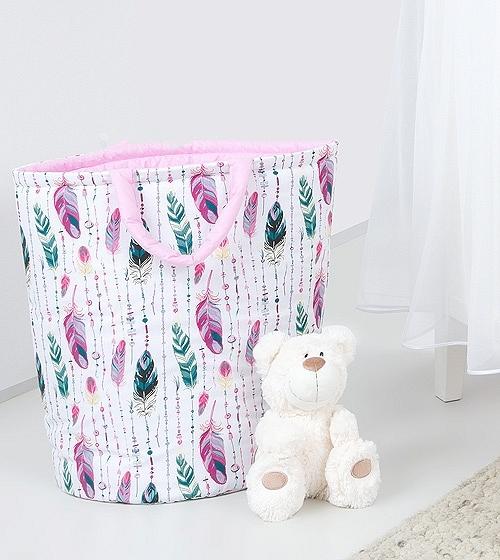 Mamo Tato Box na hračky - oboustranný, růžové peří / růžový