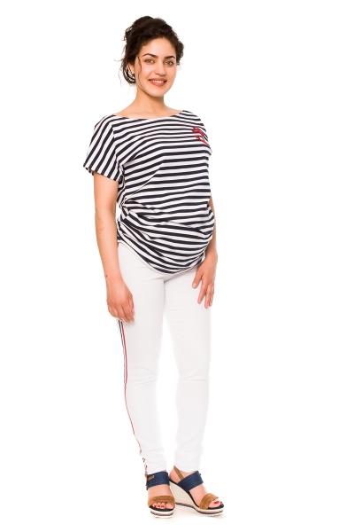 Těhotenské kalhoty/jeans s proužkem Tommy - bílé, vel. S