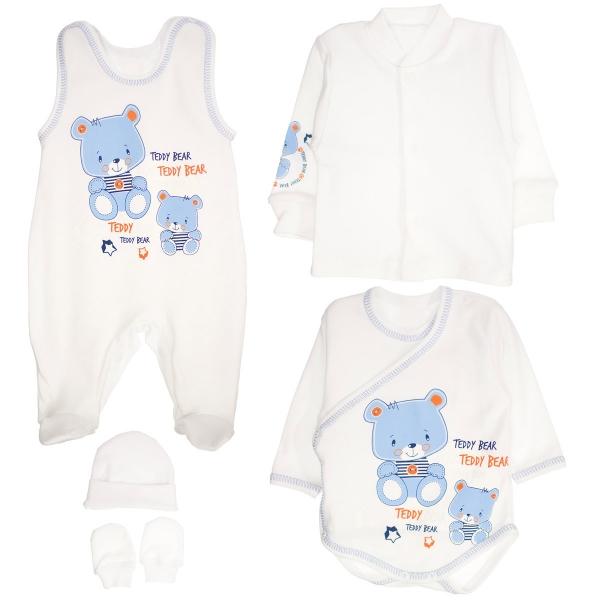 Soupravička do porodnice 5D - medvídci Teddy - bílá