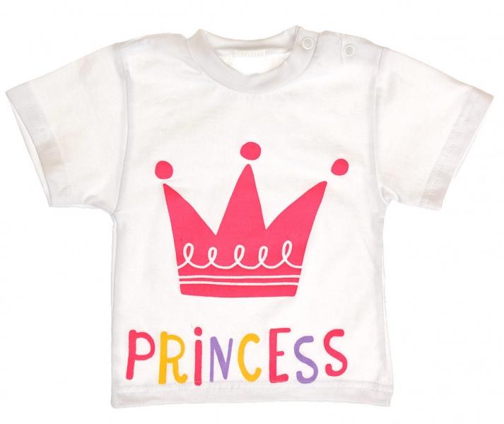 Bavlněné tričko vel. 80 - Princess korunka - bílé, Velikost: 80 (9-12m)