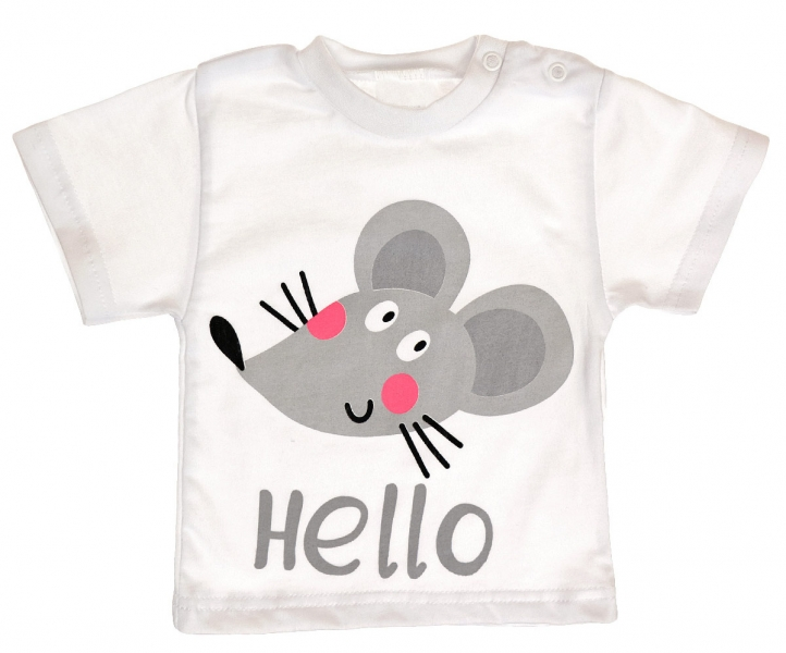 Bavlněné tričko - Myška Hello - bílé