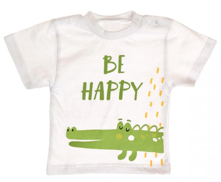 Bavlněné tričko vel. 74 - Krokodýl Be Happy - bílé