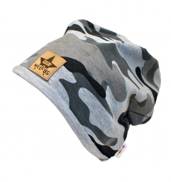 Bavlněná čepička Army Baby Nellys ® - šedá, 48-52, Velikost: 48/52 čepičky obvod