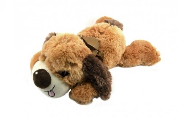 Pes ležící plyš 47cm asst 2 barvy v sáčku