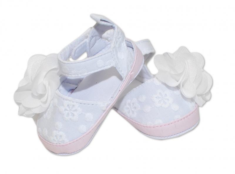 Capáčky, sandálky Flower -  bílé, vel. 6-12 m, Velikost: 6/12měsíců