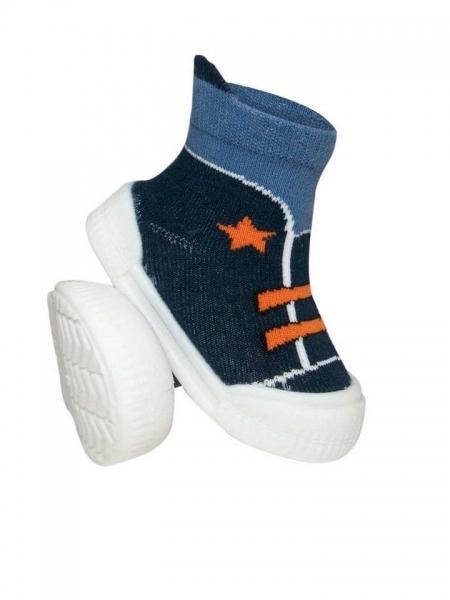 Ponožtičky s gumovou šlapkou - Tenisky s hvězdičkami - tm. modrá, oranžová